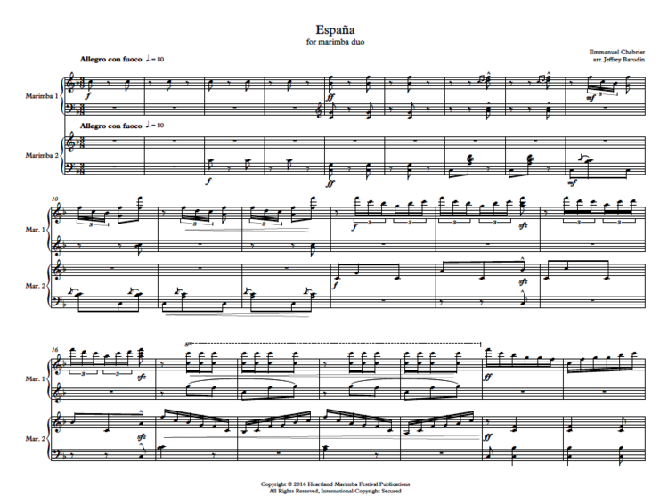 España - Original composition by Emmanuel Chabrier, arranged for marimba duoClick here for purchase & more information