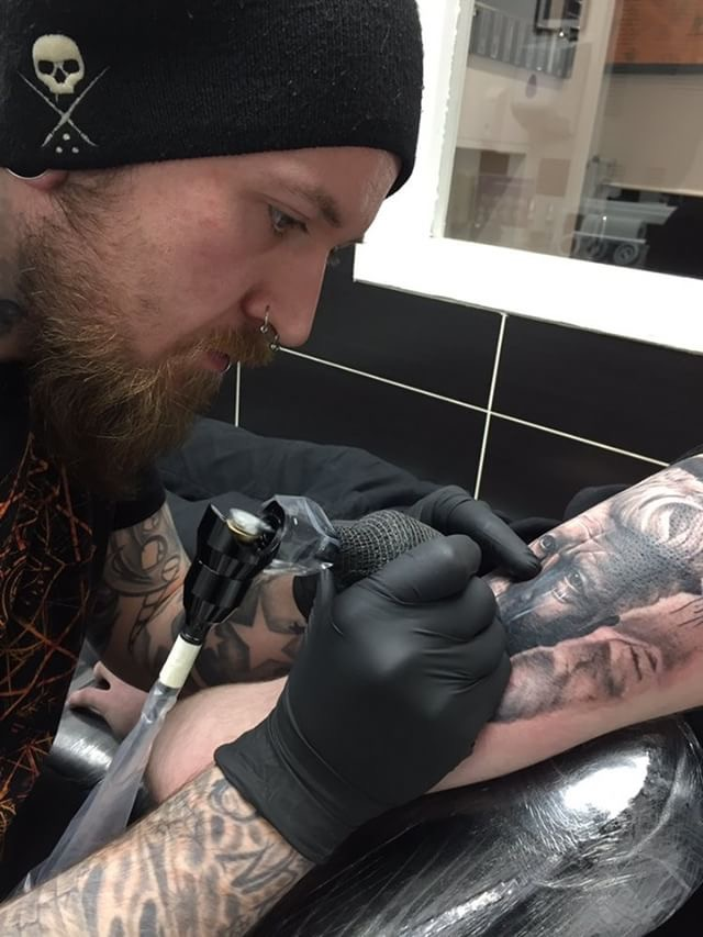 Steve Hart - He has been tattooing for over 10 years and mostly prefers high contrast black and grey portraiture and wildlife, but also enjoys the challenge of color. Click on his picture to see his portfolio!