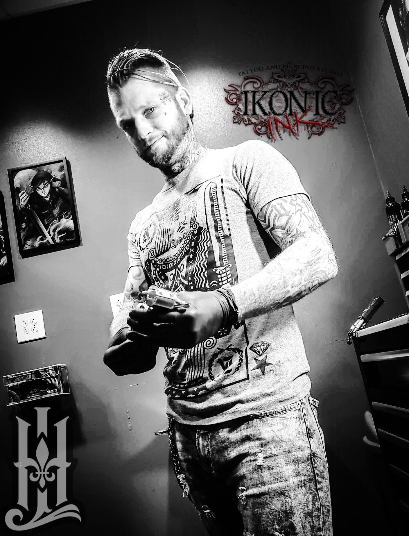 Justin Kephart - Justin has been tattooing professionally for the last 3 years. He prefers fine lines with smooth blends and specializes in black and grey realism and illustrative works but he also tattoos a bit of everything. Click his photo to check out his work!