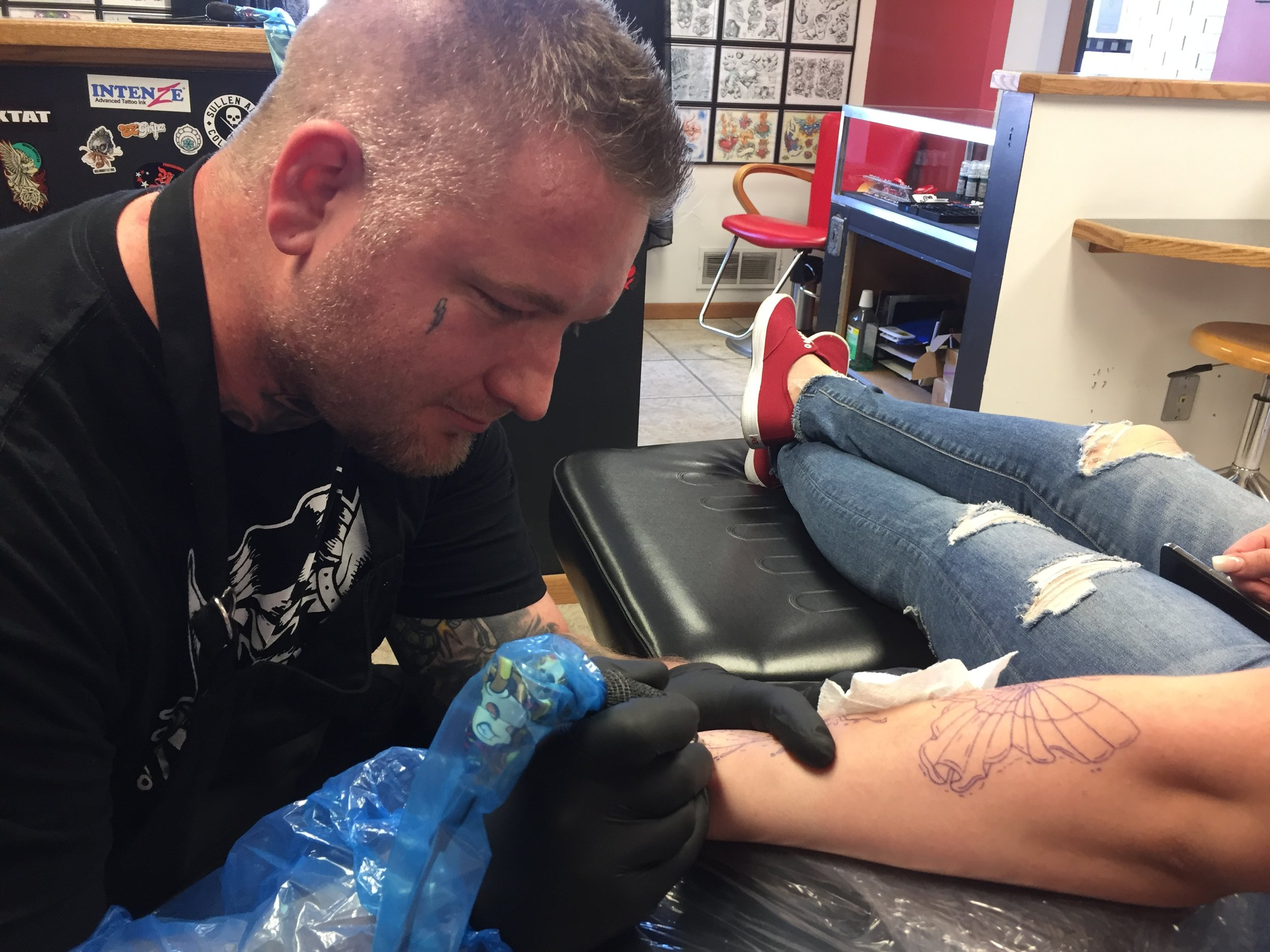 Aaron Klingensmith - Aaron is an award winning artist tattooing consistently for about 3 years . He tattoos vast array of styles from bright bold neotraditional to fine line black and grey/realism . Click his photo to check out his work!