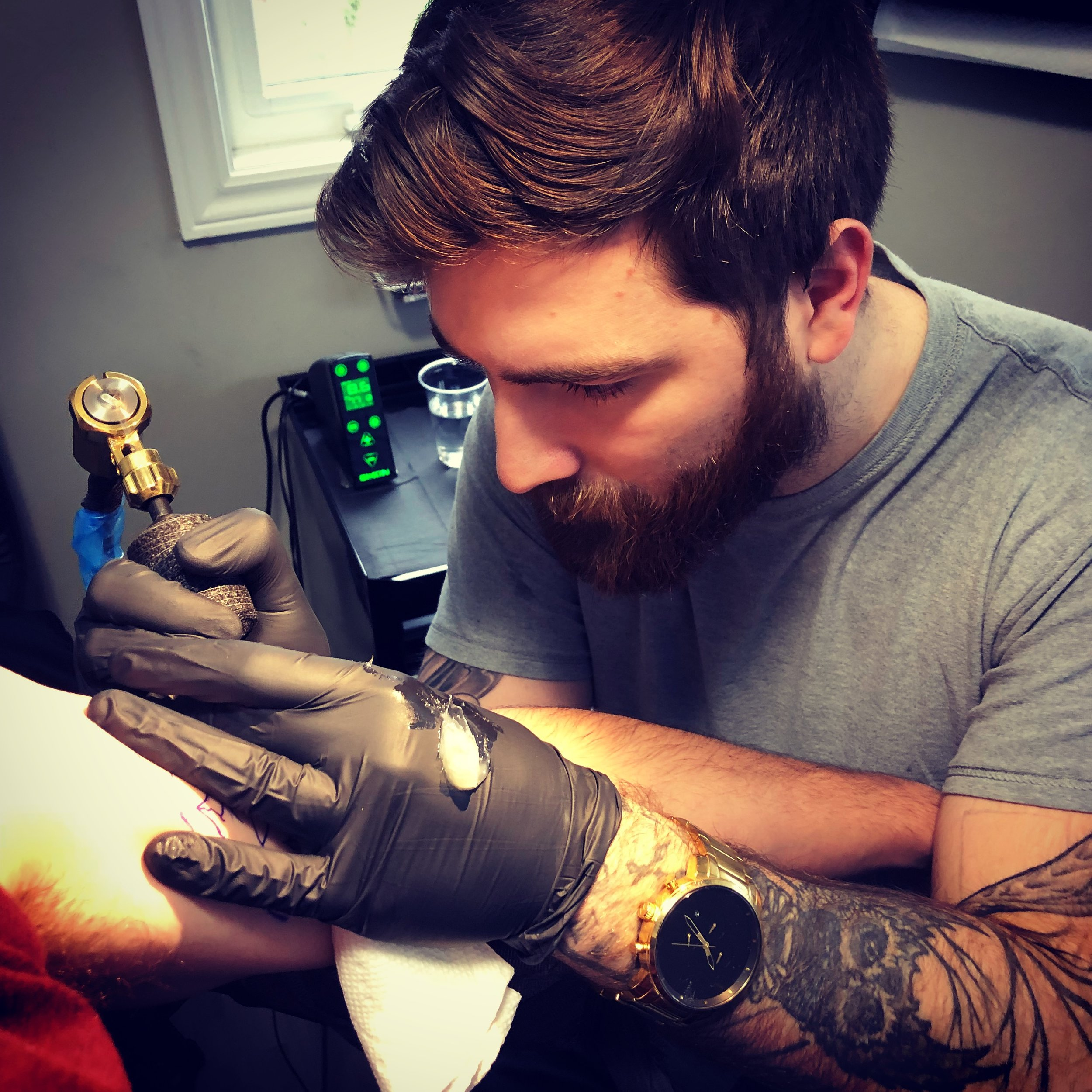 Anthony Charbonneau - Anthony is a tattooer and owner of ASC INK from Montreal Canada but is currently tattooing in the Ottawa west area. He prefers to tattoo big realistic animals and portraits but is well versed in all styles. Click on his picture to check out his work!