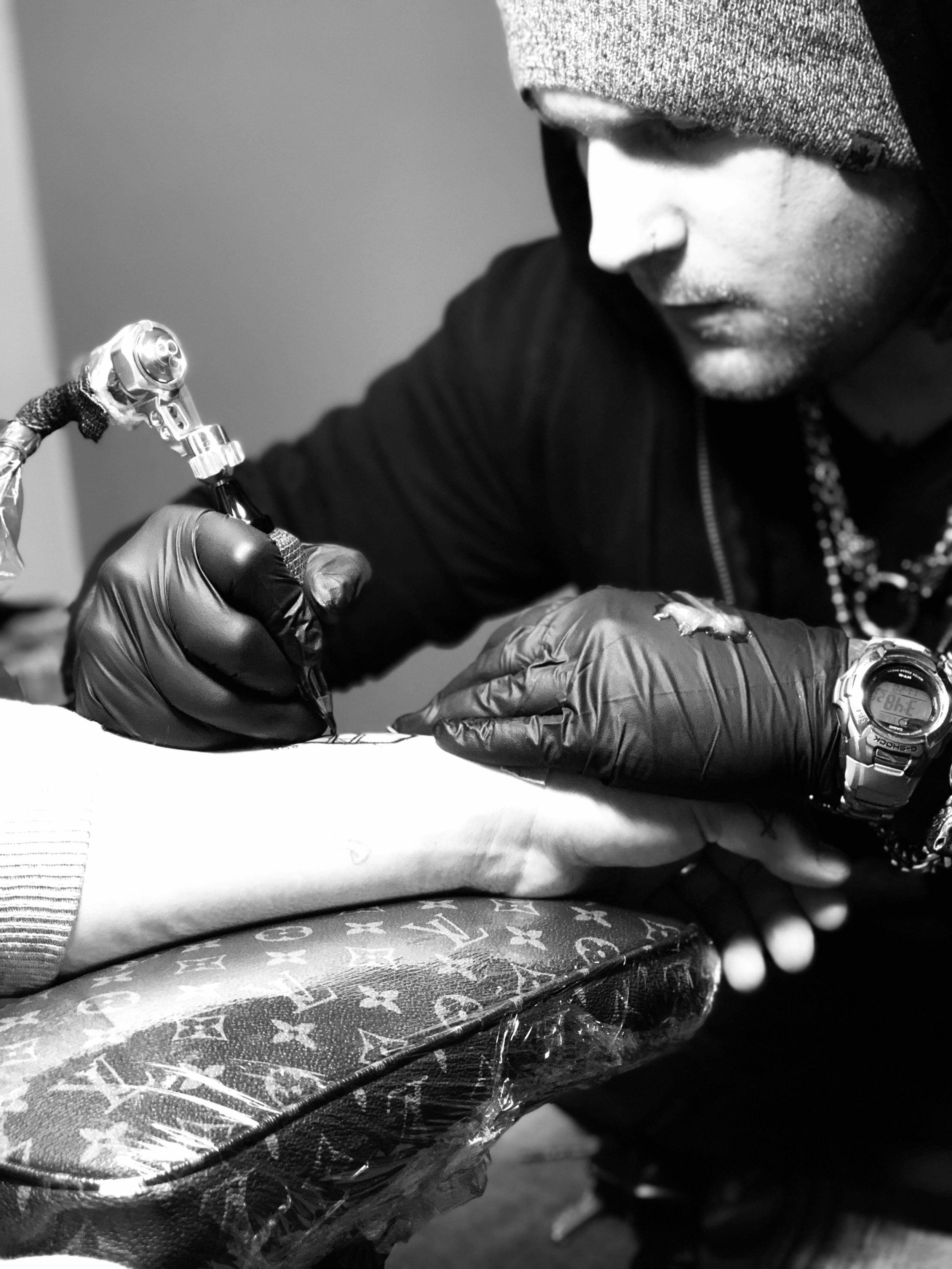 "Jake ""Ghost"" Cecil - Ghost has been tattooing for 2 years. He tattoos out of"
