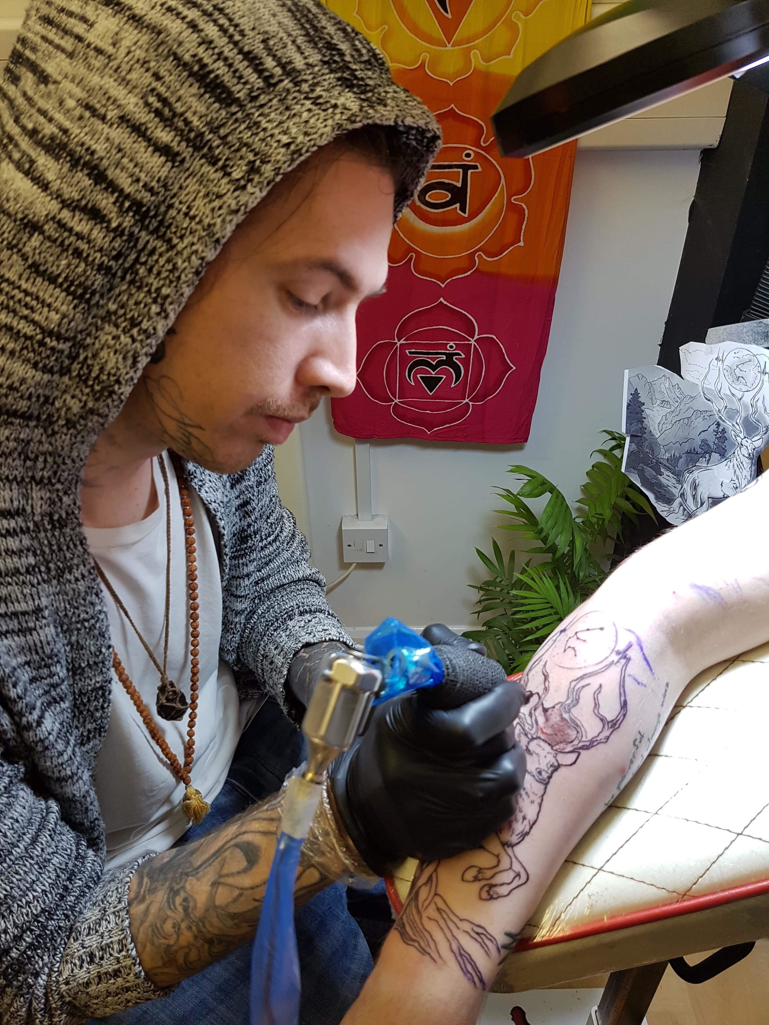 Stuart Tasker - Stuart has been tattooing professionally 8 years. He enjoys all styles but when given the opportunity to do his own style, he goes for black work, water color style with some deep thoughts entwined with the design. Click his photo to check out his work!