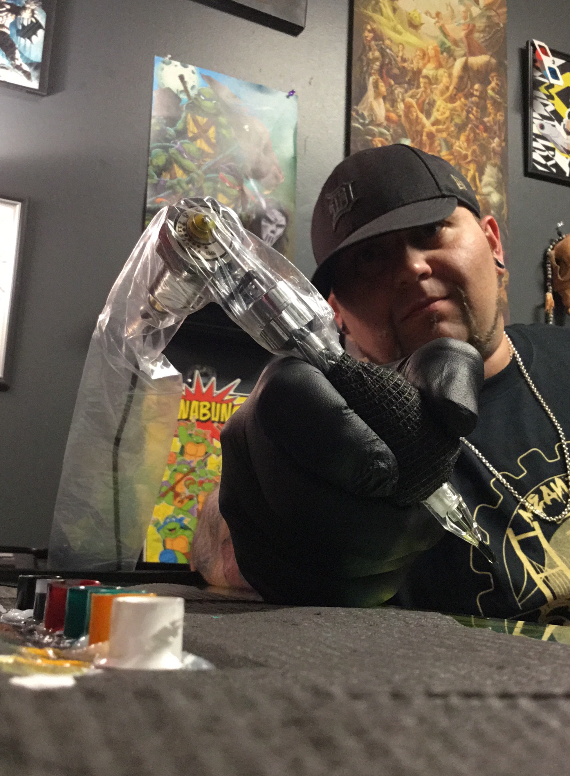 Brandon A. Taylor - Brandon is a well rounded artist and piercer from the Detroit Metro area, that tattoos a mixture of neo-traditional, cartoon/anime, as well as black and grey but he can handle anything that comes at him. Click his picture to check out his work.