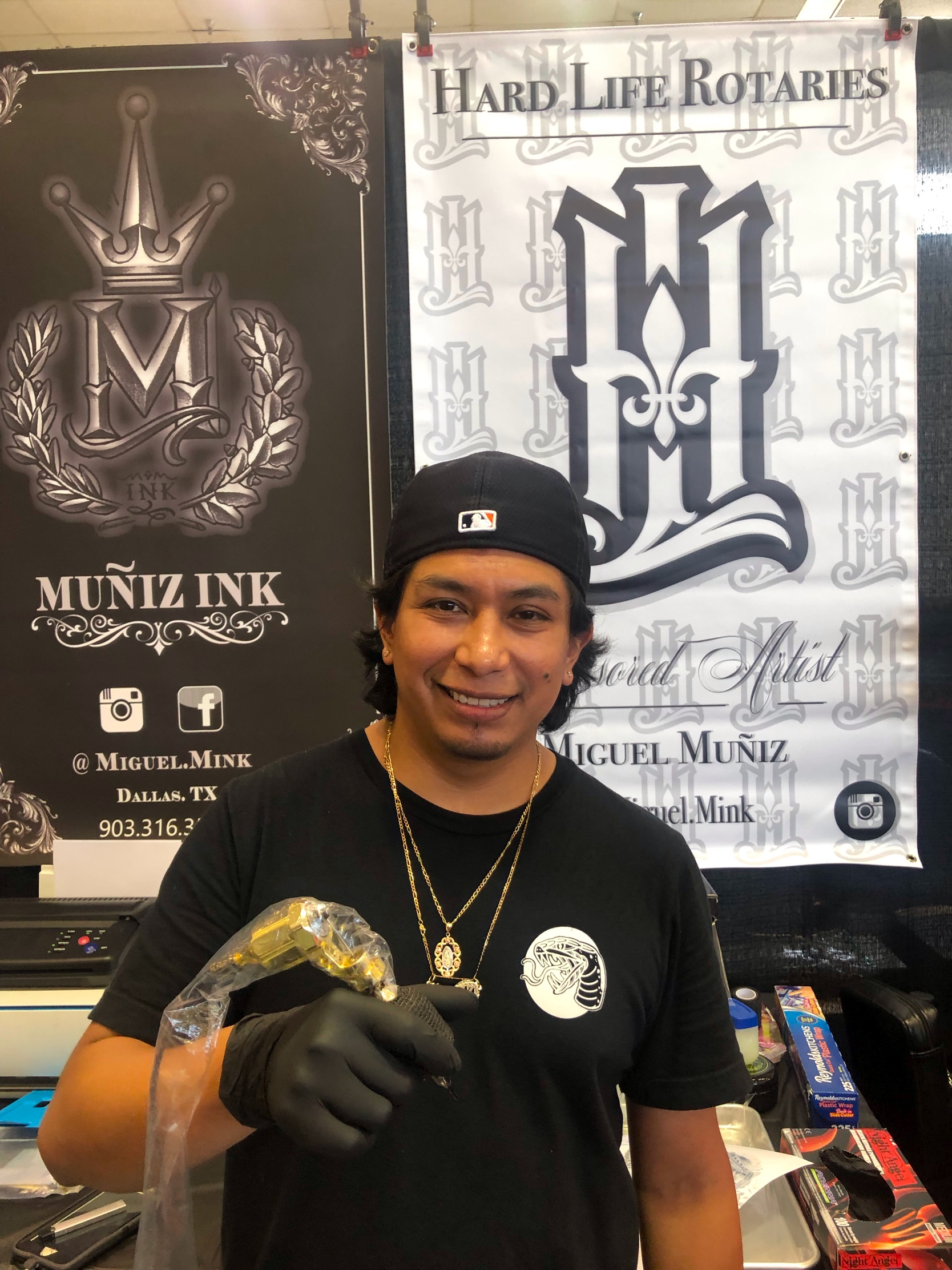 Miguel Muñiz - Miguel was going to school and started tattooing on the side just to make a few extra dollars doing something fun. He didn't know that he would end up liking it and turning it into a career. Miguel finished school but still stuck with tattooing. He is now the shop manager of Artistic Encounter (Rosemeade location) in Dallas. He is a very versatile artist that likes to tattoo in many styles from Neo traditional, full color, watercolor, black and gray, coverups and just about anything in between. Miguel loves new challenges so he is always looking forward to doing new things and trying out new styles. Click his picture to check out his work.