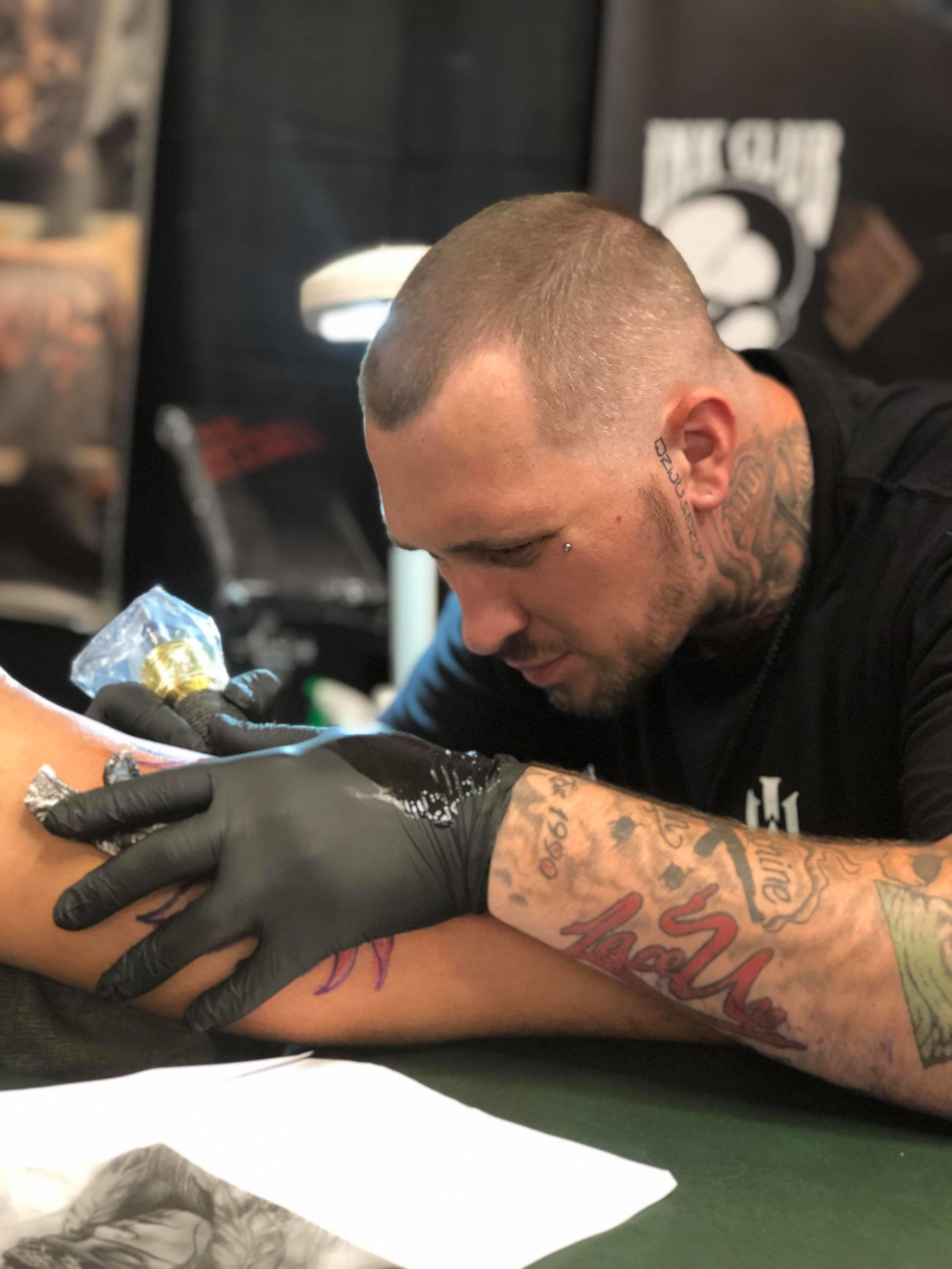 """Joseph Yancy - Joseph is from Lowell Massachusetts. He likes to do black and grey, realism, and custom lettering. Theres nothing he wont try, """"If you pick ill stick it."""" Its that Hard life Baby! Click his picture to check out his work."""