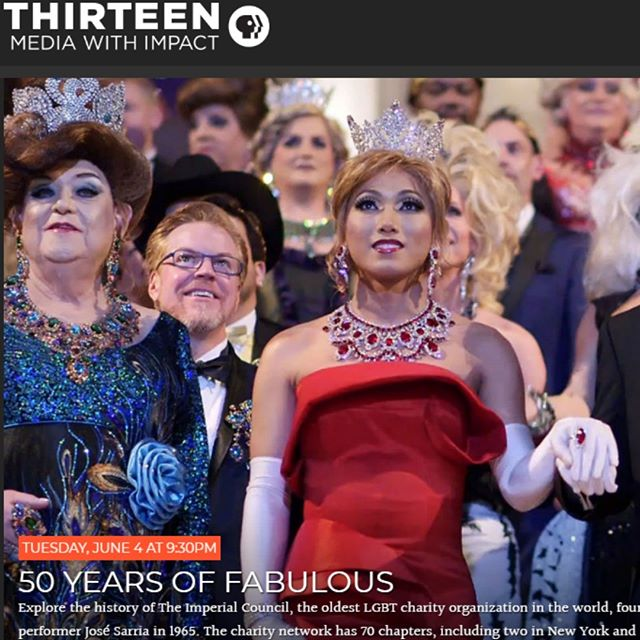 ** TONIGHT ON THIRTEEN ** If you're in the New York area, be sure to watch 50 YEARS OF FABULOUS: THE IMPERIAL COUNCIL STORY on Thirteen WNET New York tonight at 9:30pm! Psst, pass it on please! #Pride #PrideMonth #50YearsOfFab ✨👑✨ #JoseSarria #Pride50 #Stonewall50 #Pride2019 #LGBTQ #LGBT #LGBTQHistory #LGBTHistory #Queer #QueerHistory #nyc #film #documentary #drag #causes #ImperialCouncil 🏳️‍🌈