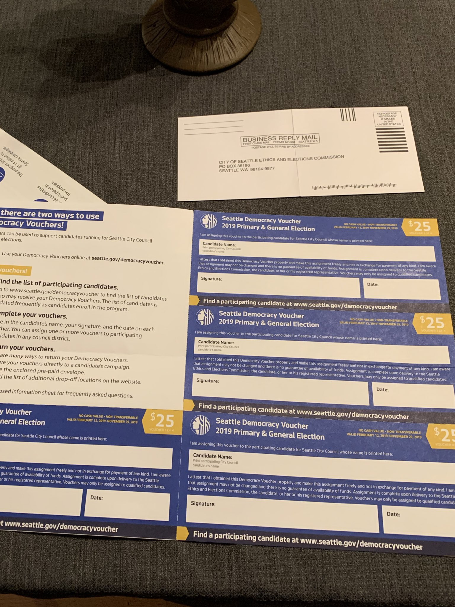 """Write in """"Logan Bowers,"""" sign each voucher, and mail them back to the city using the included pre-paid envelope."""