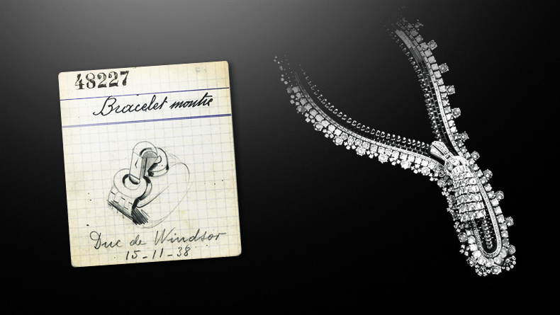 The original design and sketch for the Duchess of Windsor. The necklace converts to a bracelet. Courtesy Van Cleef & Arpels