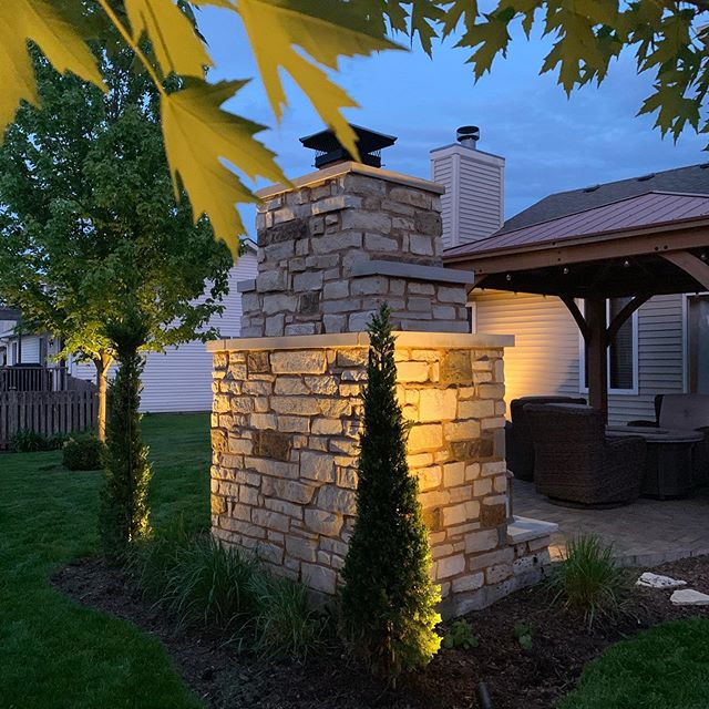 We are now offering landscape lighting. Visit our website to request a free estimate. . . . #landscaping #lawncare #uplighting #landscapelighting #firepit #lights