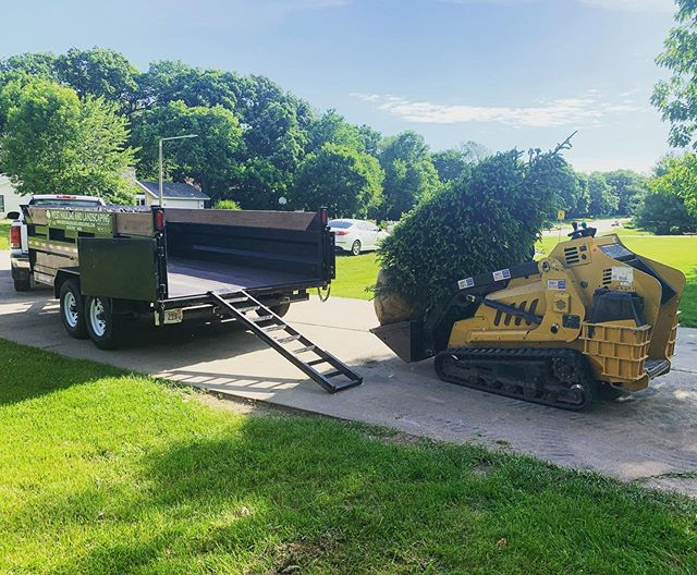 Doing a little tree install this morning. . . . #lawncare #landscaping #tree #vermeer #skidsteer #summer #realestate