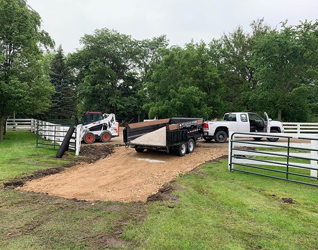 Huge thank you to @arranmorefarmandpoloclub for letting us redo their field entrance. Great people and such a beautiful property to work on. . . . #landscaping #lawncare #driveway #excavation #dirtwork . . . @bobcatcompany @suretractrailers @gmc