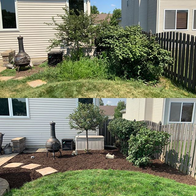 Another great transformation. Swipe to see more before and after photos. . . . #landscaping #lawncare #realestate #mulch #fall #cleanup