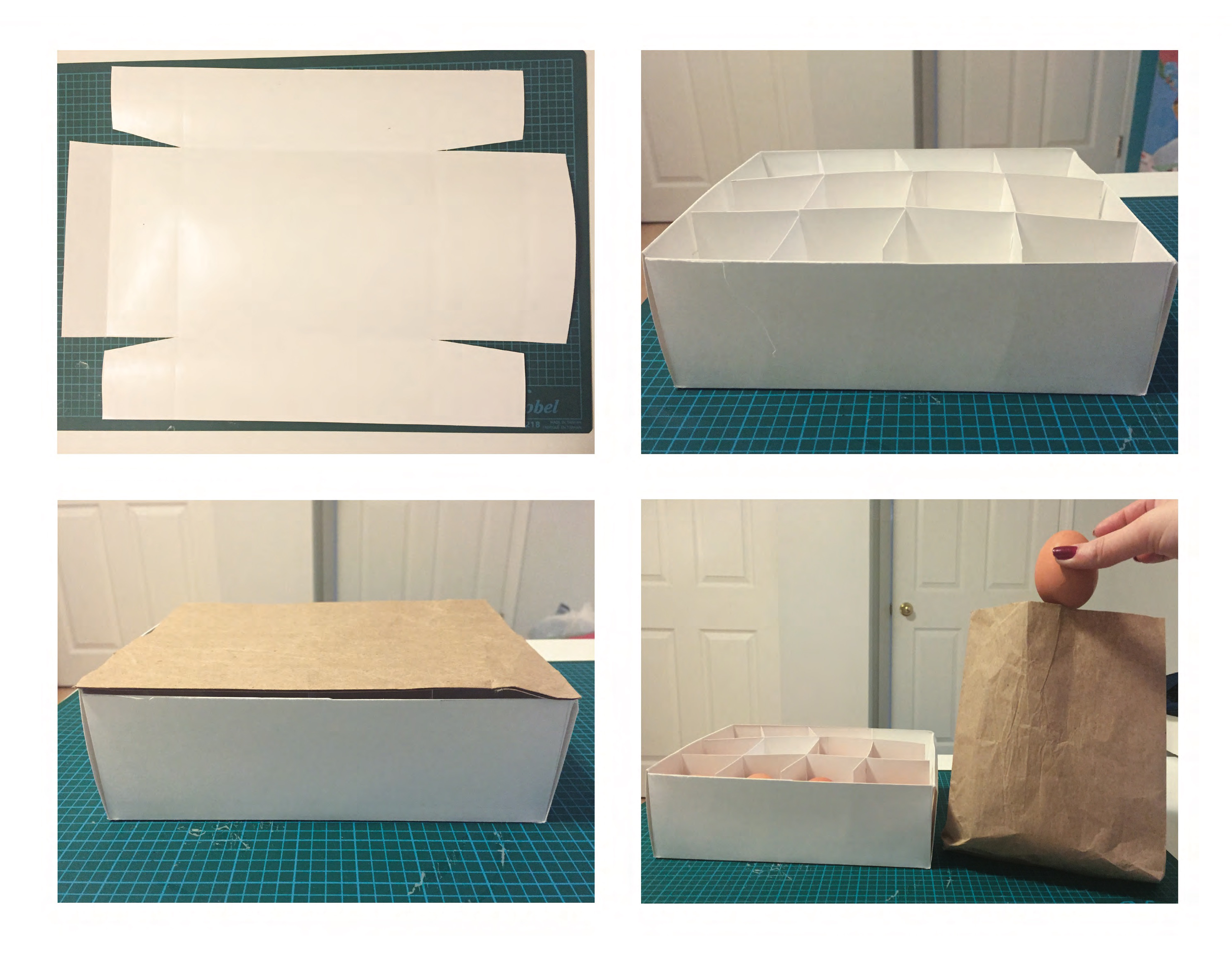 Prototype of an egg carton with a paper bag cover used for composting egg shells.