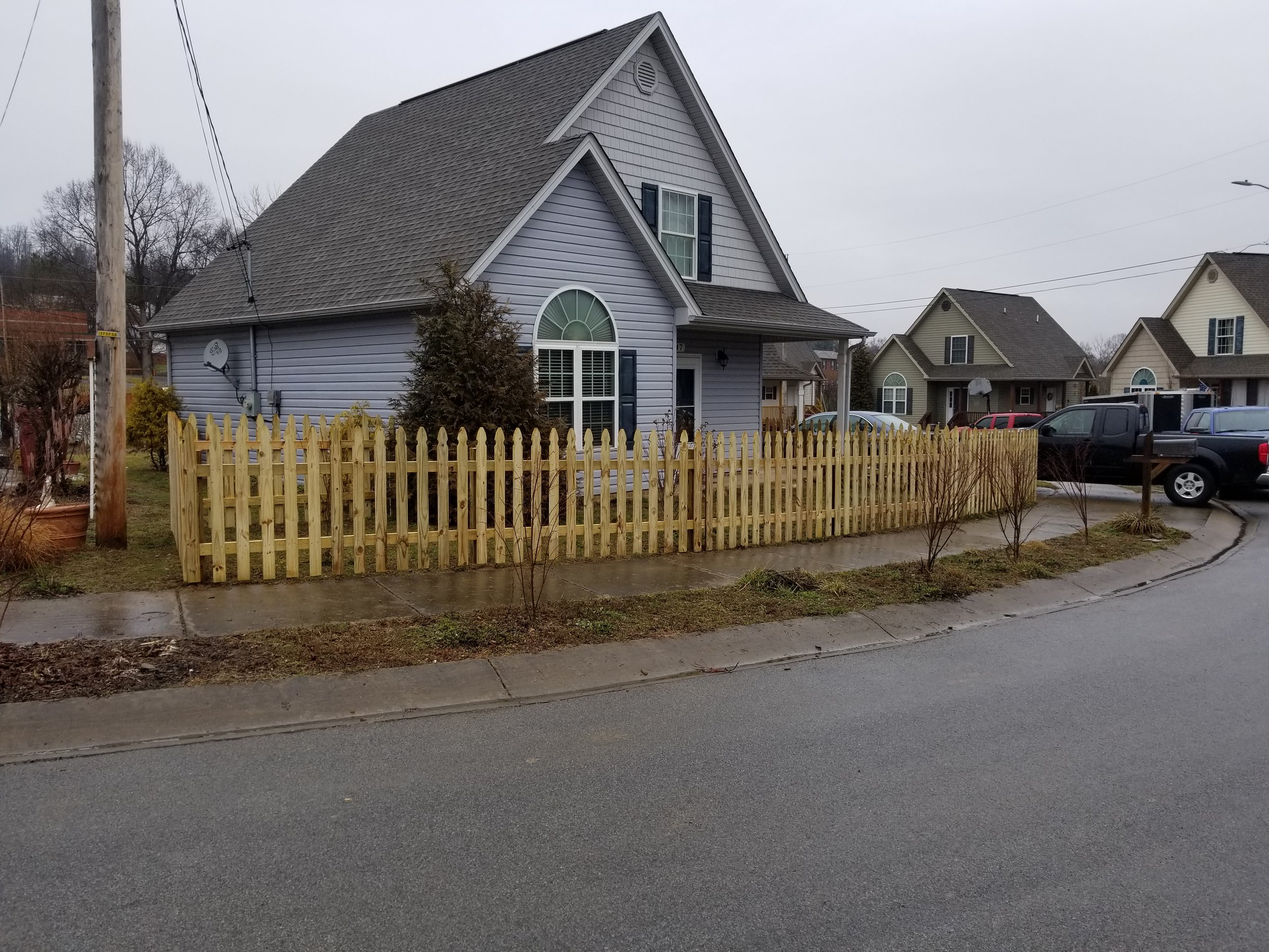 New Picket Wood Fence 120 Feet (Johnson City, Tn)