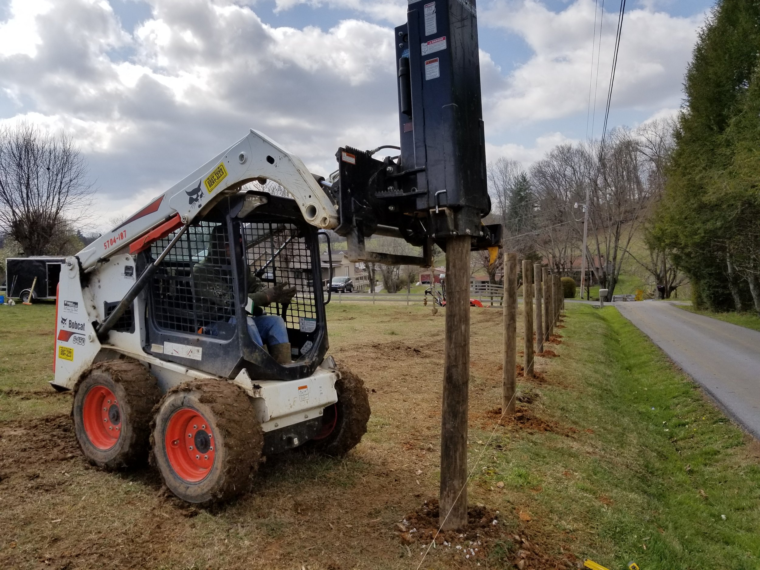 Cattle Fence, Bobcat Pile Driver in Use (Johnson City, Tn)