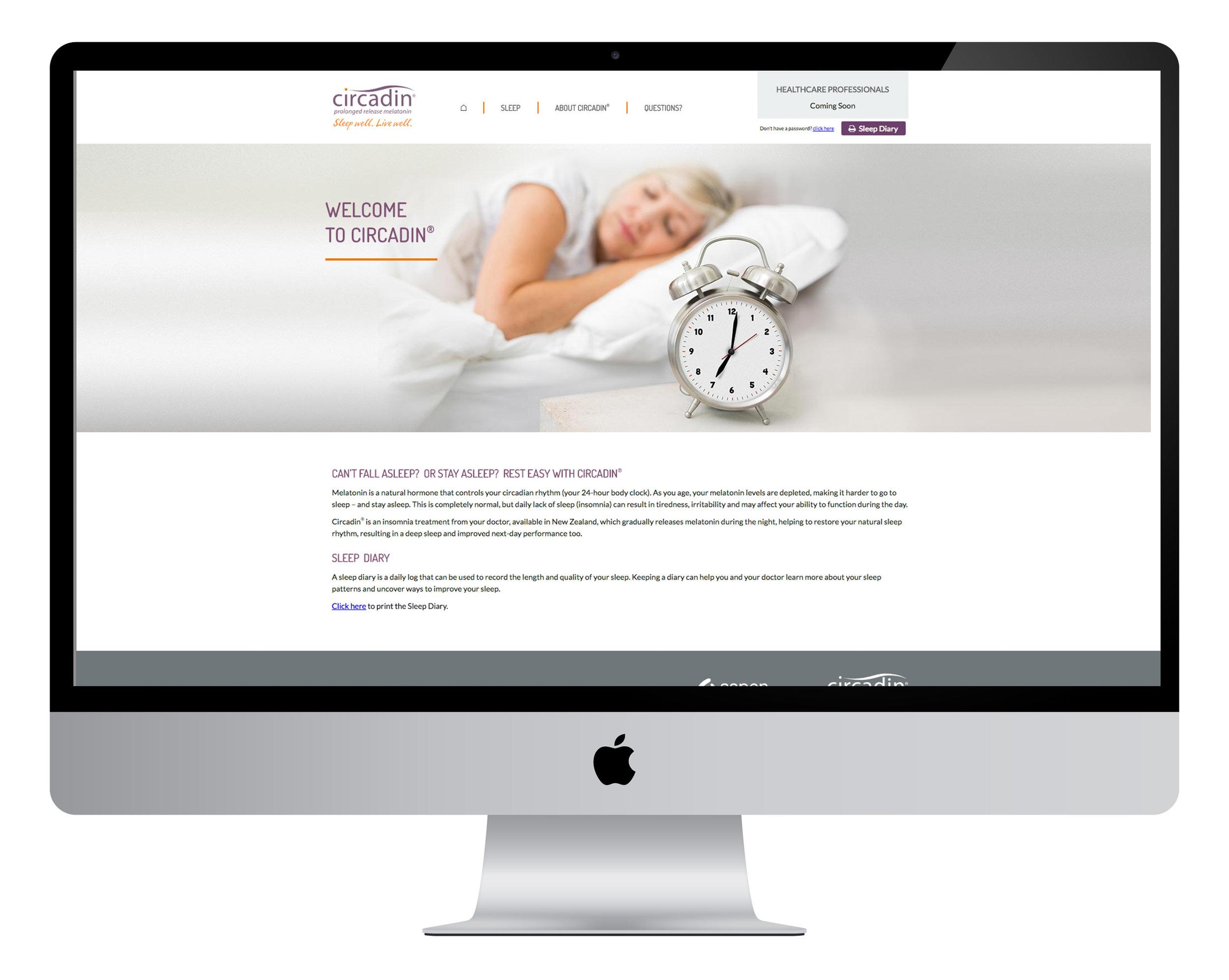 Circadin - consumer and healthcare professional website:  creative direction, design