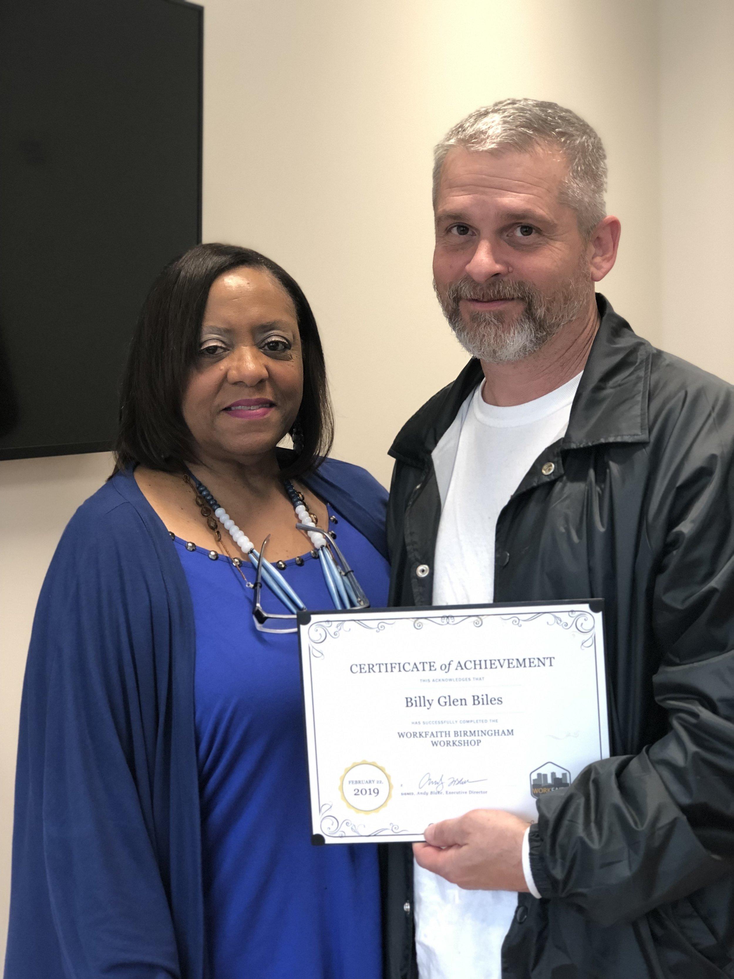 Glen with his WorkFaith instructor, Deborah Smith.