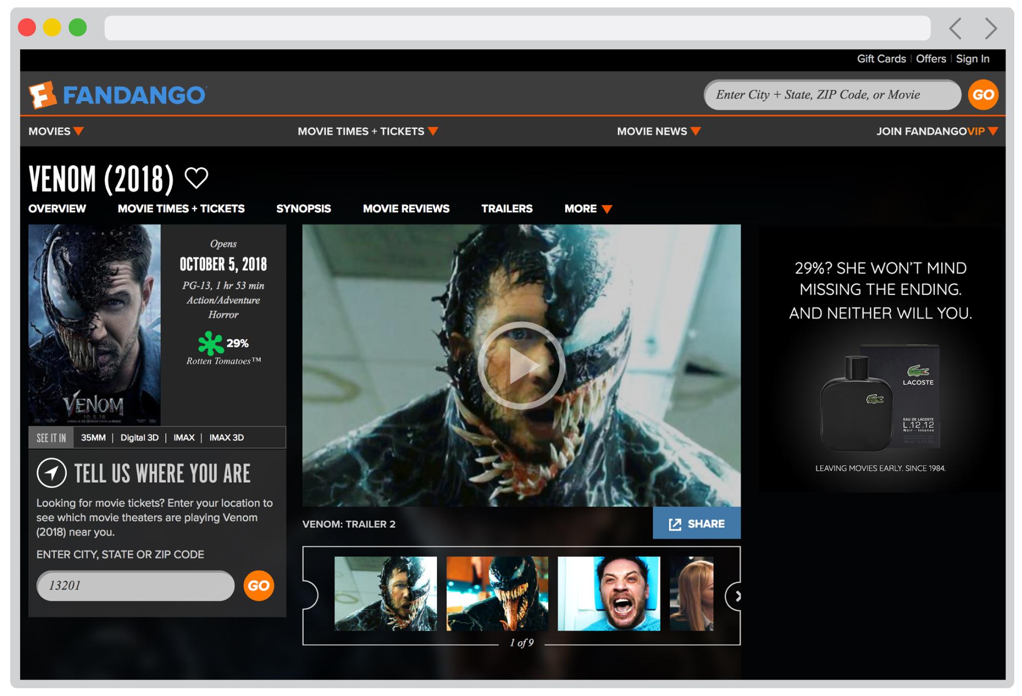 Fandango online ad