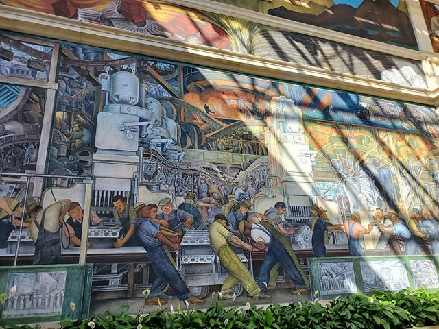 "Detroit Industry Murals by Diego Rivera. ""The murals depict the workers at the Ford River Rouge Complex in Dearborn, Michigan. During the time Detroit was an advanced industrial complex, and was home to the largest manufacturing industry of the world."""