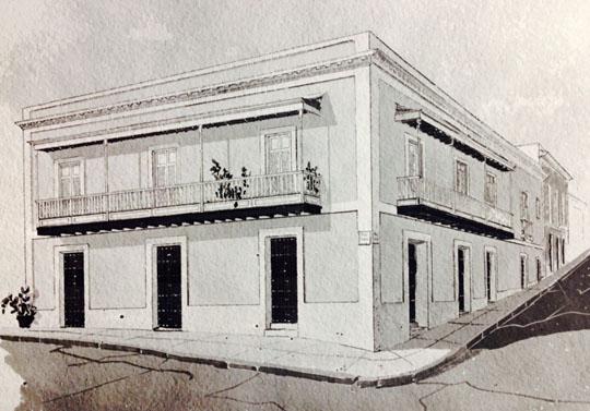 Perspective drawing, Property files from San Juan Historic Zone, Institute of Puerto Rican Culture, October 27, 1970, 106 San José Street.jpg