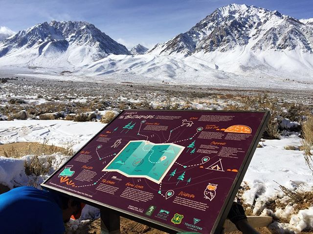 """In May of this year we were asked to provide information for a kiosk that would be put up at the Buttermilks. The Buttermilks are known to a lot of people as a world famous climbing destination but it is so much more than that. """"Welcome to Payahuunadü, the place of flowing water. Home to thousands of years of culture and ceremony. The Paiute people who have lived in this Valley for time immemorial ask that we all remember that the use of these lands surpass recreation, they are sacred."""" As I read the words I wrote on the kiosk I remember being surprised, like I didn't believe they would be used. This is a victory, I don't care how small, it is a victory. We spoke about the importance of place names. The very mountains that the kiosk overlooks— the mountain to the right is Winuba(Standing Tall)the mountain to the left is Powniibu(wife partner to Winuba)and the mountains in the middle are Maduuwamu(their children). Our land holds so much history and I'm lucky to learn the little that I know from people at the language program. These lands are sacred and should always be regarded as such. They're more than climbing, hiking or conquering. This land is who we are as Indigenous people. We were able to have meaningful conversation with climbers this day and make steps toward building relationships between very different communities. These are only the first steps on a very long path but here we go❤️📍Payahuunadü homelands of the Nüümü 📸 @numu_wanderer"""