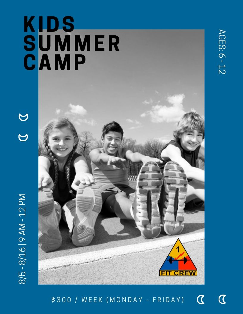 Youth Summer Camp - Looking for something for the kids to do this summer? Fit Crew is hosting a youth summer camp for kids ages 6-12 from 9 AM - 12 PM this August (Monday through Friday).Camp begins at 9 AM alongside our regularly scheduled 9 AM FitCREW class so that parents can get in their workout too without adding extra driving or planning to their days.
