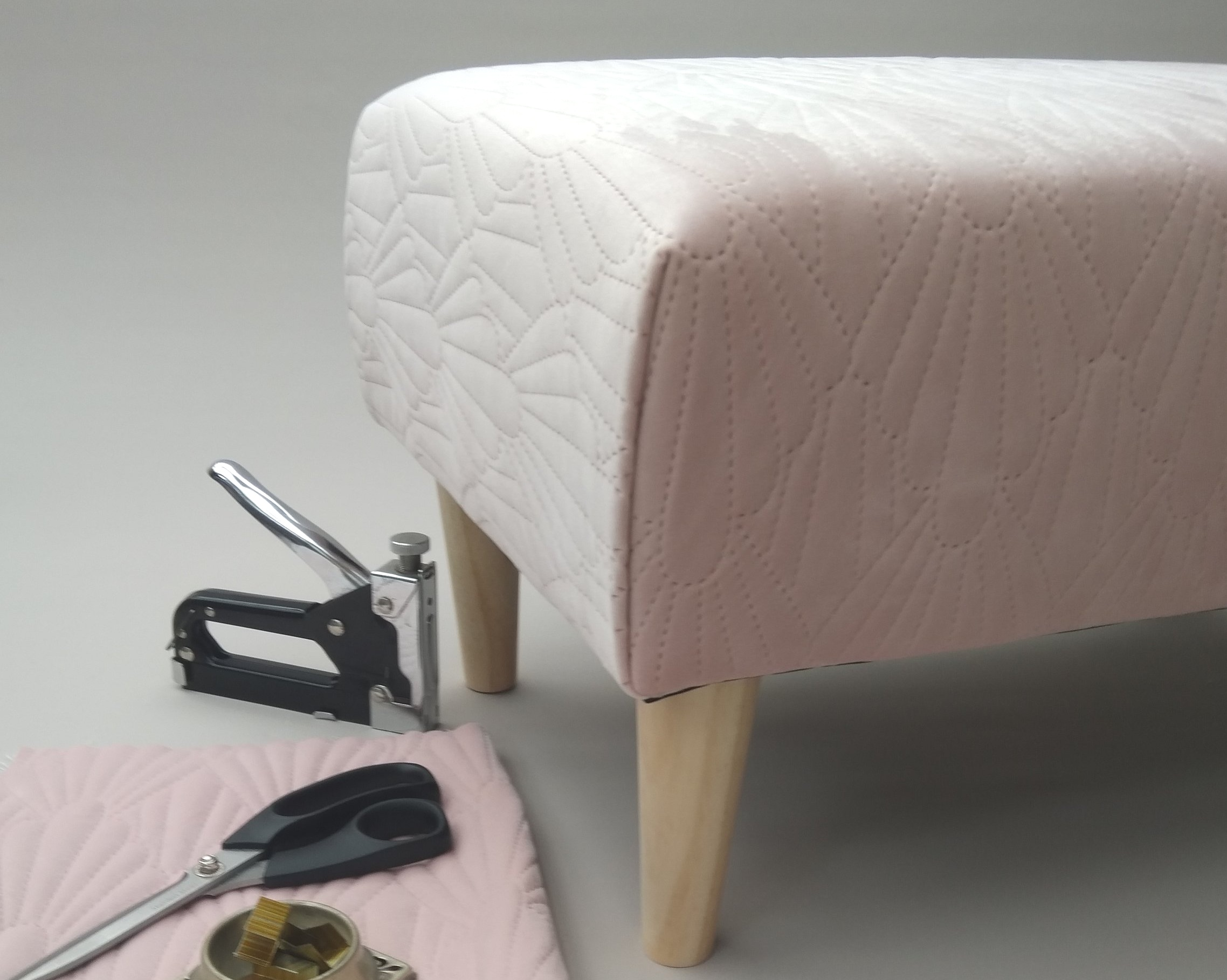 The MODERN FOOTSTOOL - A classic rectangular footstool with tapered legs. Perfect for that 'stand out' fabric!