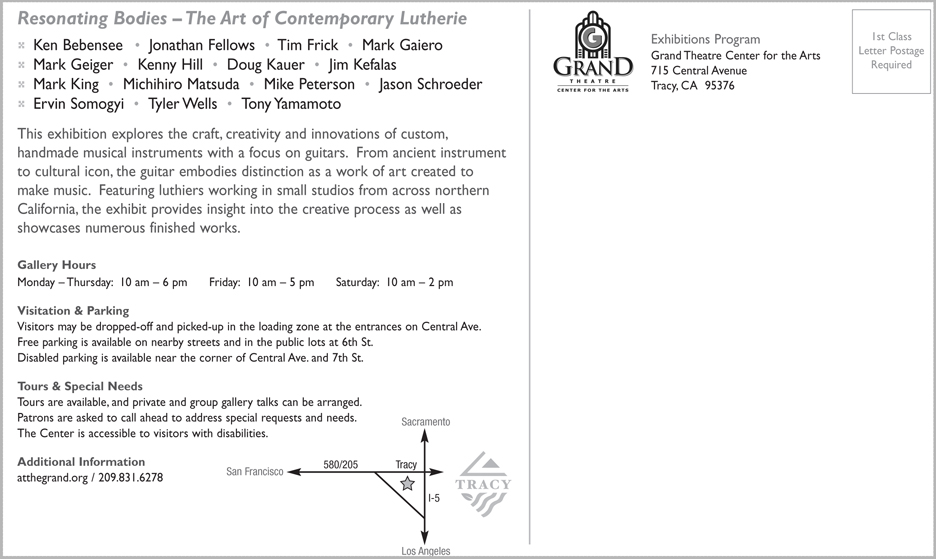 Poster for Resonating Bodies: The Art of Contemporary Lutherie at Grand Theatre Center for the Arts