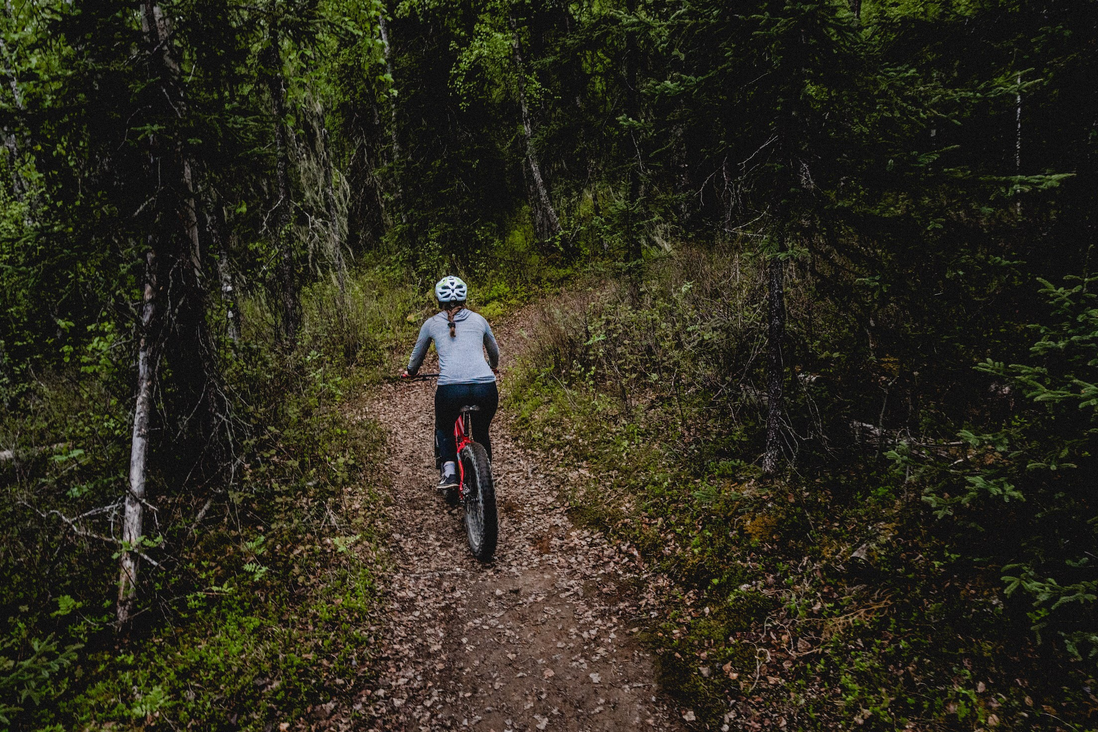 One of our rental customers having a blast on the Talkeetna Lakes trail.