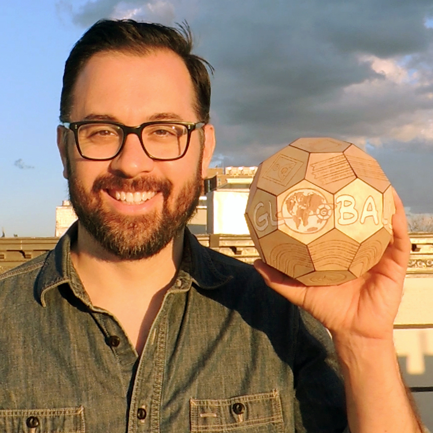 Oliver, the creator of GLOBALL holds a prototype maquette.