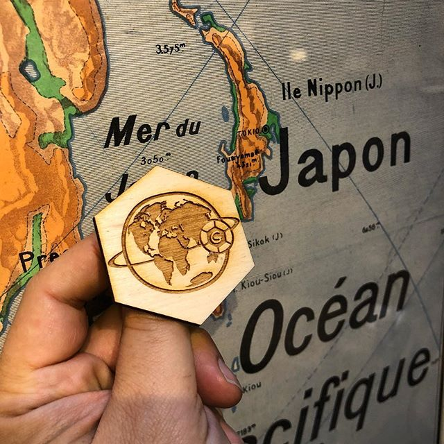 The GLOBALL Rover is currently in Japon. Who doesn't like old maps? Featured here with the new pin. #wheresgloball #coddiwomple #laseretching #frenchstuff #lasercutting #oldmaps