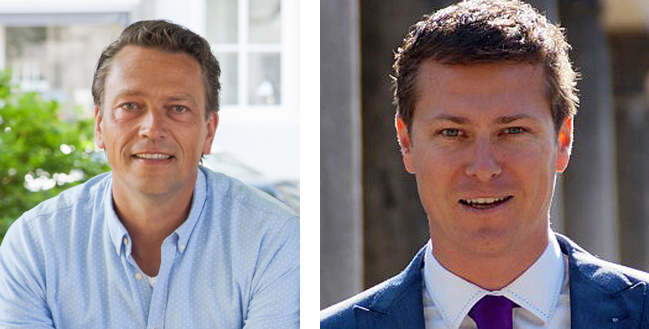 Erno Tramper van Internetbureau Urban Heroes (l) en mr. Marcel Schroevers van Van Boven Advocaten (r) verzorgen de informatieve AVG avond.