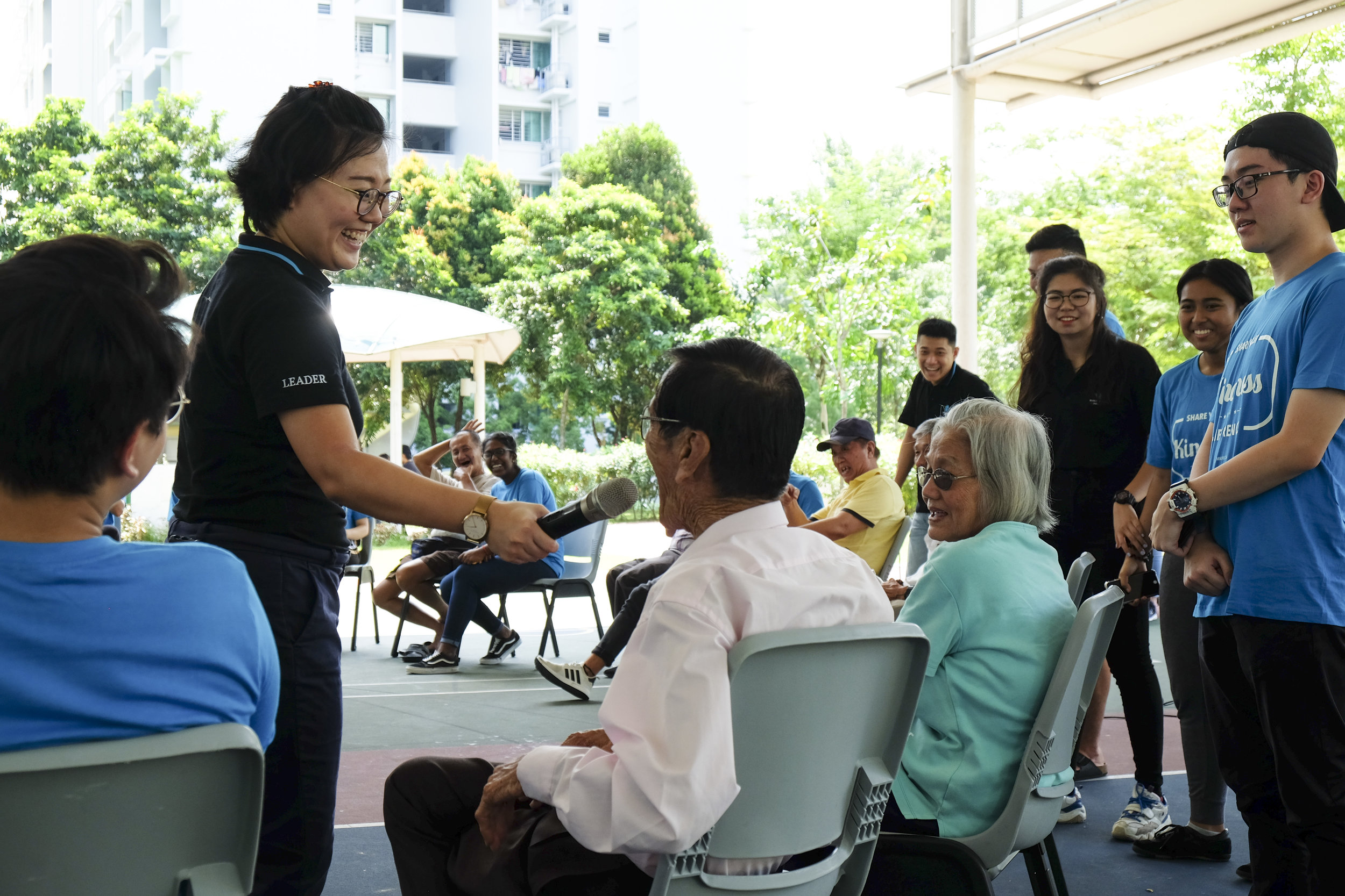 The ice-breakers consisted of the Laughing Game, created by one of CoLOVEful's planning team member and human BINGO. For the Laughing Game, the elderly were seated in a big circle, they would have to laugh out loud to the person on their right. They can make any kind of laughing sound or noise and pass it onto the next person. This activity was enjoyed by both the elderly and the volunteers as it got everyone laughing their bellies off! Human BINGO had the elderly to walk around (the circle made by the chair) to see what they could strike off after knowing a new fact about the others.