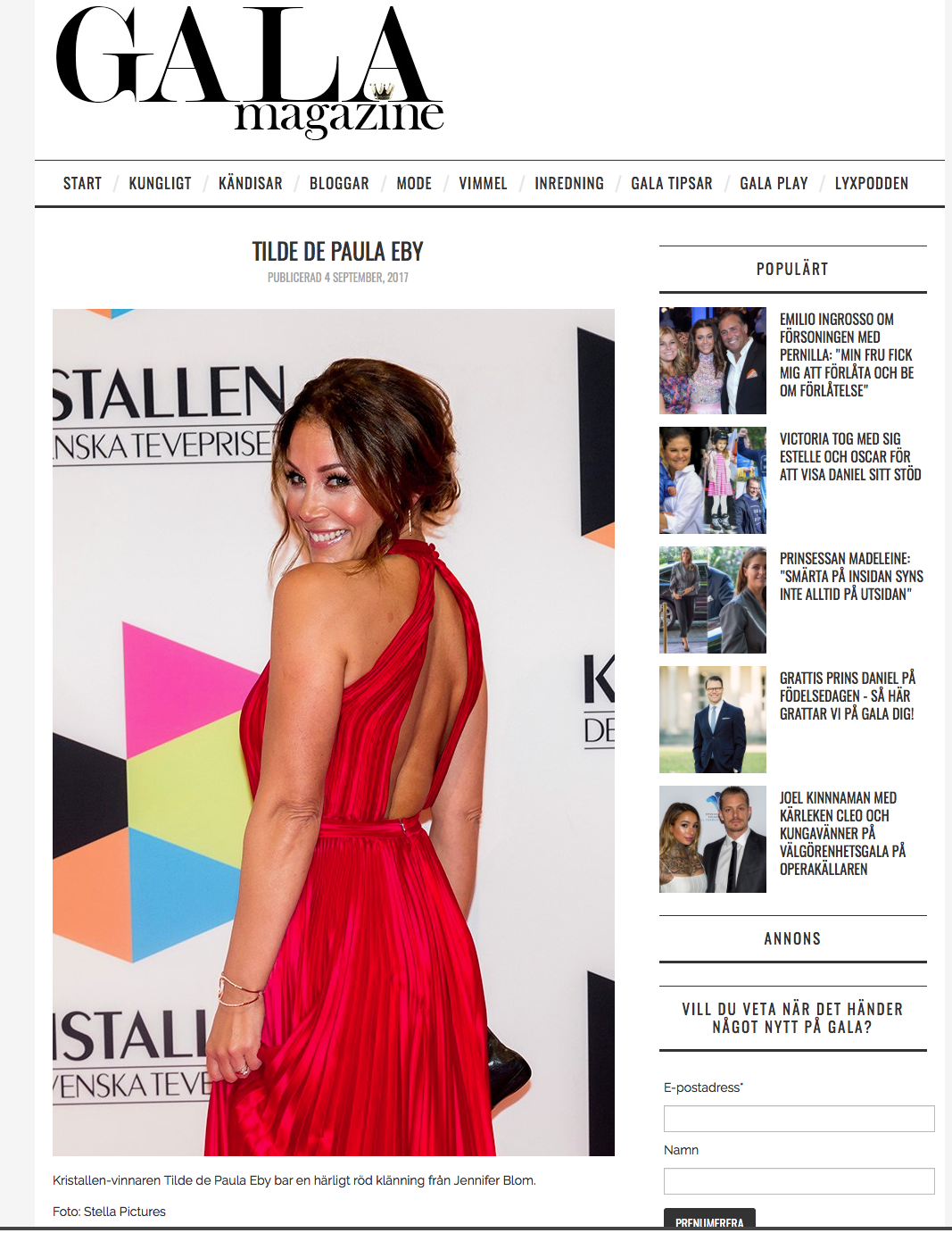 Gala magazine Tilde de Paula Kristallen 2017