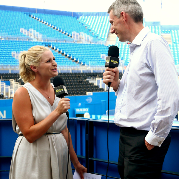 Catherine and David recording The Tennis Podcast at Queen's 2017.