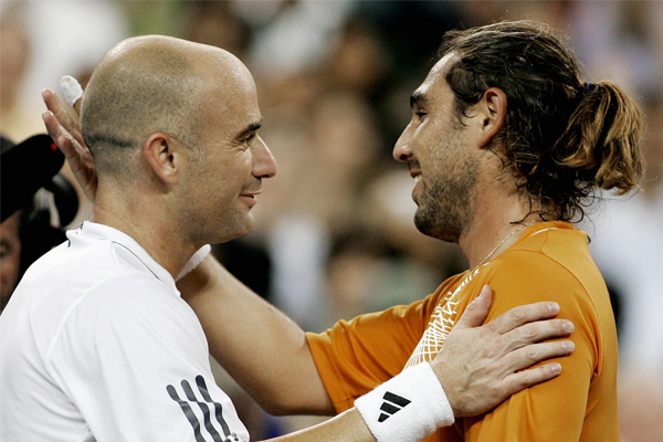 Andre Agassi and Marcos Baghdatis, US Open 2006 (Getty images)
