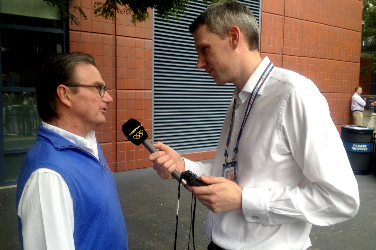 US Open 2012. David interviewing Jimmy Connors for BBC Radio 5 Live.