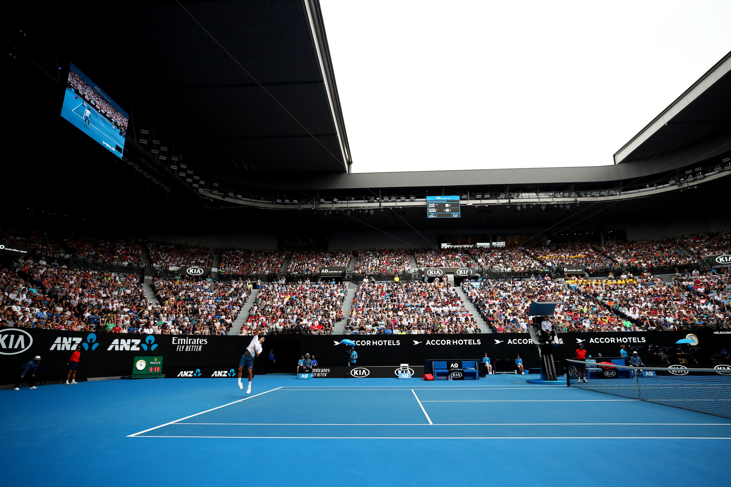 Roger Federer serving, Rod Laver Arena