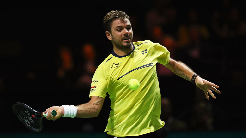 Stan Wawrinka returns a forehand to Gael Monfils in the Mens Final in Rotterdam.