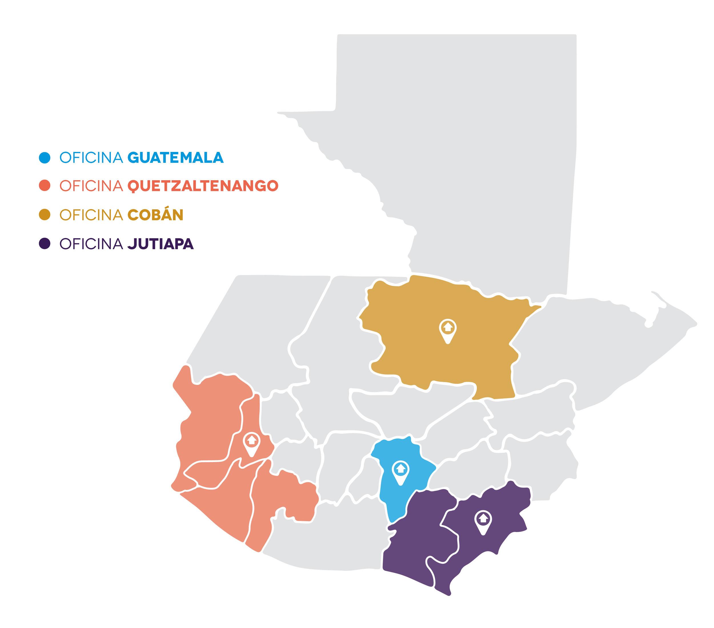 6 de cada 10 guatemaltecos viven en situación de pobreza  (59.3% - ENCOVI 2014) . Para poder soñar con una Guatemala sin pobreza, buscamos tener trabajo en 6 regiones del país, con 4 oficinas regionales, trabajando en conjunto a comunidades aledañas y voluntariado local.