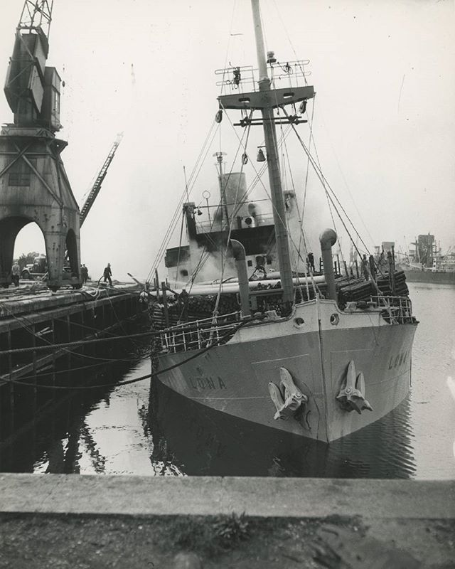 A firefighter trying to save  the S.S. Lona from paying a visit to Davy Jones' locker.  9th September, 1956. No. 12 Quay, King George Dock, Hull.  Photographer - Donald I. Innes  #photography #fire #fireman #ship #heritage #port #1950s #hull #hull2017