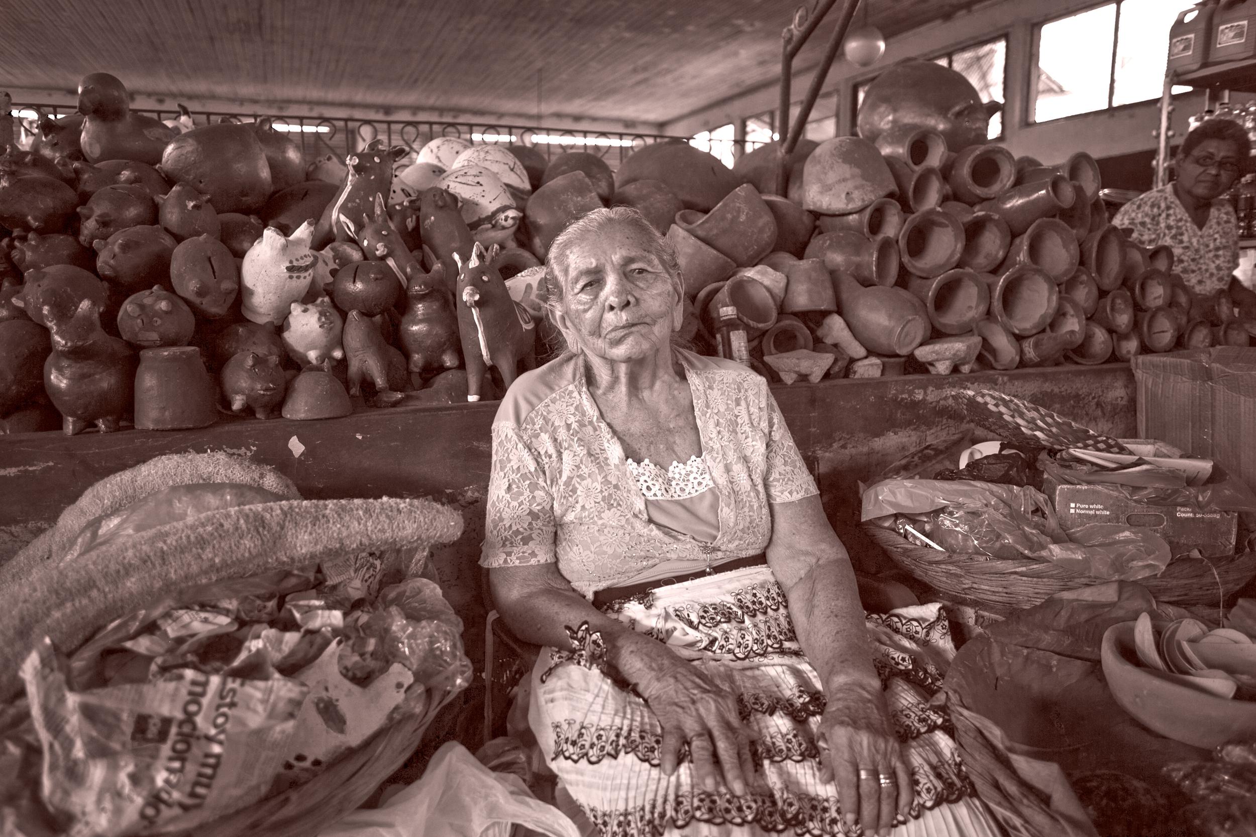 Selling her wares.  Granada, Nicaragua.