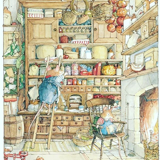 ♥️ My original Larder Love...The Store Stump, Brambly Hedge ♥️ And my long-standing and still current #larderlove of Chalon! And the never failing @ikeauk #ocd #organisation. It's so time to batton down the hatches ready for Winter isn't it....!? Autumn sunshine where are you, I really need you!! 🌞 🍂🐿 #larder #wholelarderlove #pantry #pantryporn #autumn #bramblyhedge #mouse #treehouse #homeorganization #backtobasics #home #fireplace #changingseasons #winteriscoming #battondownthehatches #sunshine