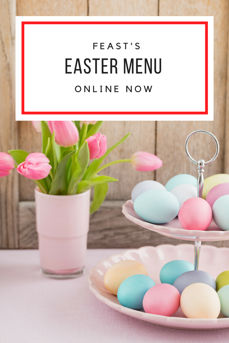 Would you like to have your  Easter Feast  prepared for you this year? We cater for lots of seasonal events, so if you are interested in organizing a holiday meal for the family or a banquet, Feast is here to help!  Take a look through our Easter Menu and we can help you create your perfect Festive Meal. You can also add additional items from our Catering Menu.  Place your orders with us on Wednesday  March 28th 2018  by 3.30pm for your Easter Feast.  Your order will be ready for pick up on Saturday,  March 31st  between  1.00 - 3.30 pm