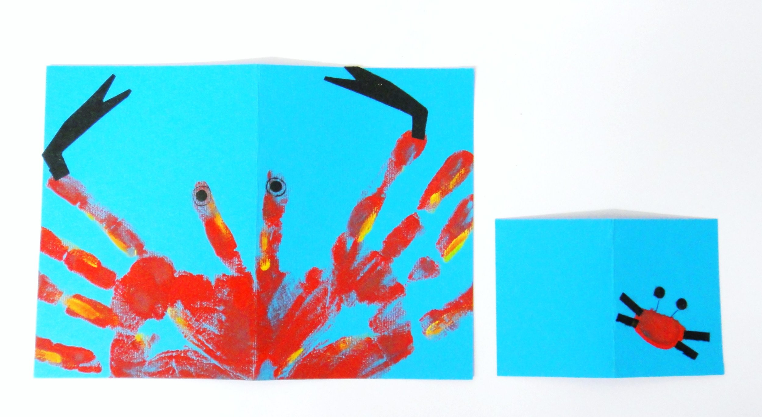 Learnt about aquatic life and printed vibrant crab-imprinted birthday invitation-cards and thumb-printed thank you cards