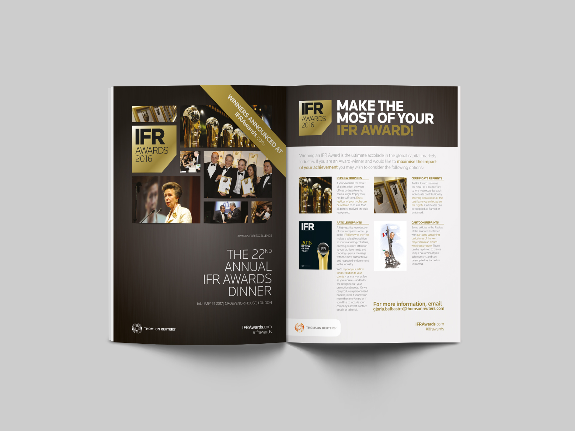 Over the past 10 years minx design has worked with Thomson Reuters. Minx assisted in the production of design, artwork and print to help promoted their printed publications, online publications, conferences and forums including continuing to work on the marketing of their annual Award ceremonies.