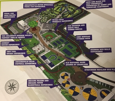 Map of the new Riley Children's Health Sports Legends Experience
