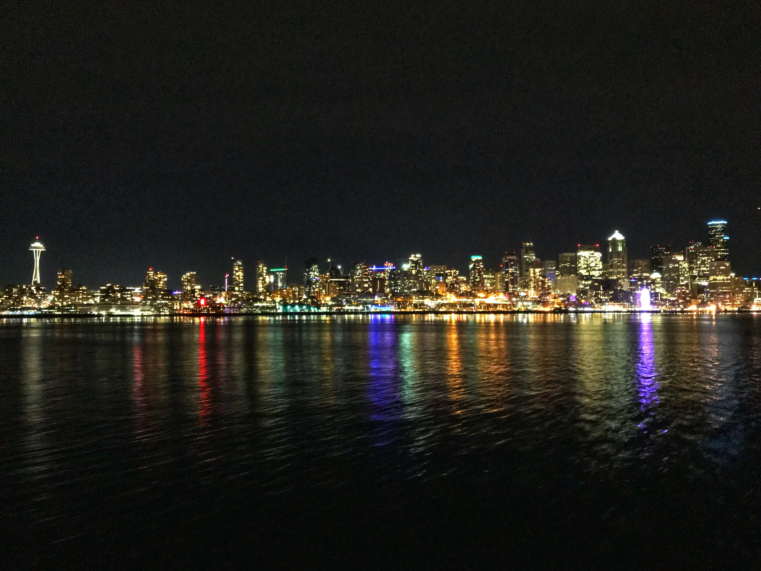 Seattle Skyline - taken on the ferry on a cold winter night.
