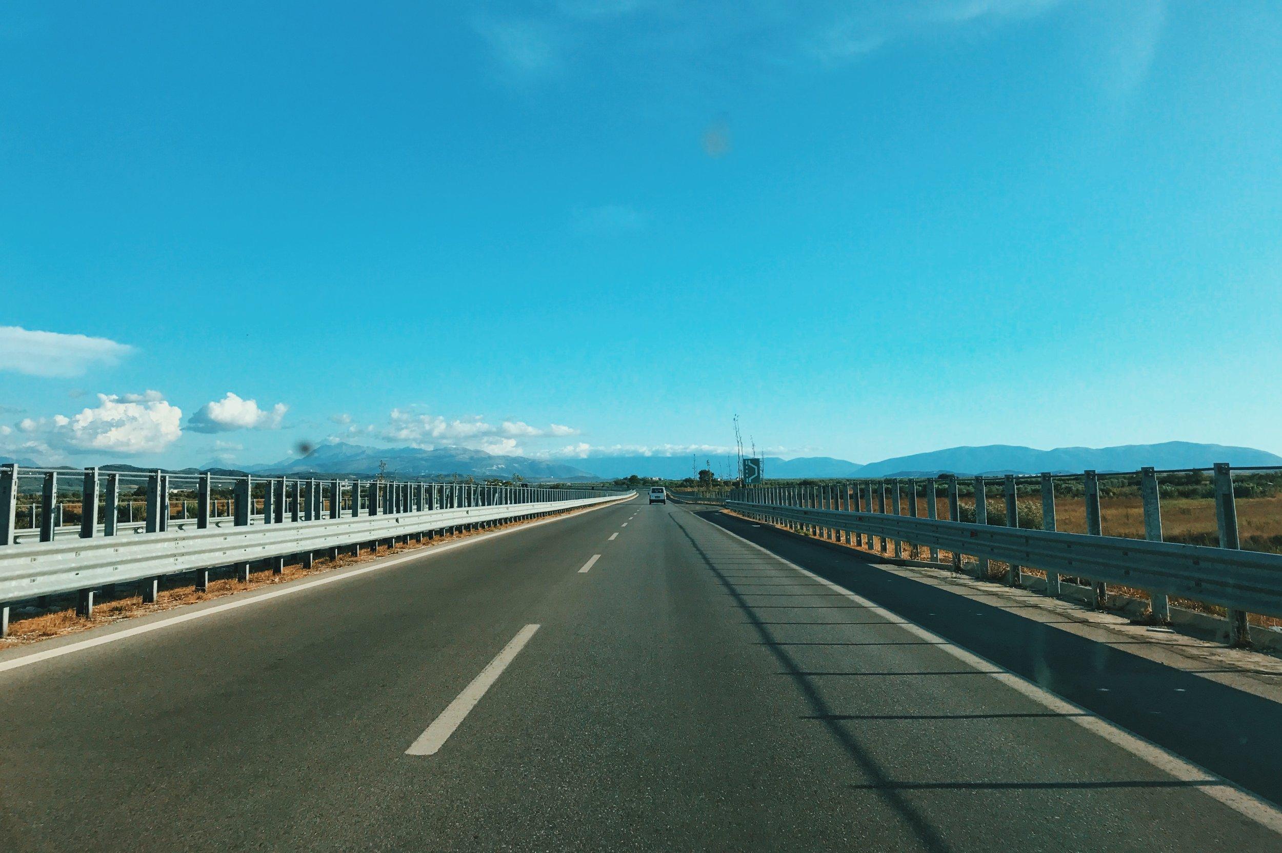 The road from Tiranë to Durrës and Lushnjë
